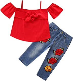 Jimmackey 2pcs Neonata Bowknot off-Spalle T-Shirt Cime + Rose Applique Denim Pantaloni Bambina Vestiti Completo