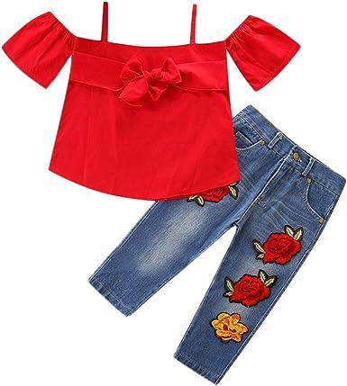 Fabal Toddler Kids Baby Girls Outfits Off Shoulder T-Shirt Tops+Pants+Headband Set