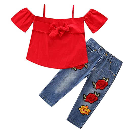 d826ac1b8bbb1 Amazon.com: Fabal Toddle Kids Baby Girl Off-Shoulder Tops+Flower ...