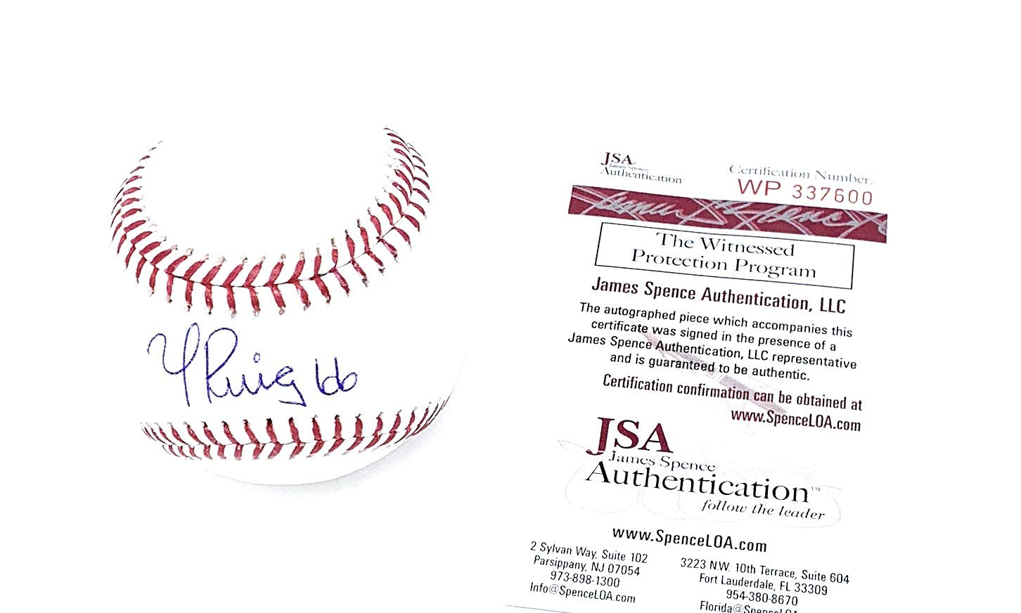 Yasiel Puig Los Angeles Dodgers Signed Autograph Official MLB Baseball JSA Certified