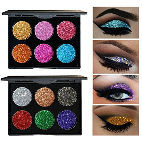 Creative Imaginations Rub - 6 Colors Glitter Eye Shadow Brighten Palette Flash Shimmer Natural Glitter Fix Gel Cosmetic Makeup Body Face Nails Hair Decoration Pigment Make Up Pallet for Festival Christmas (#A)
