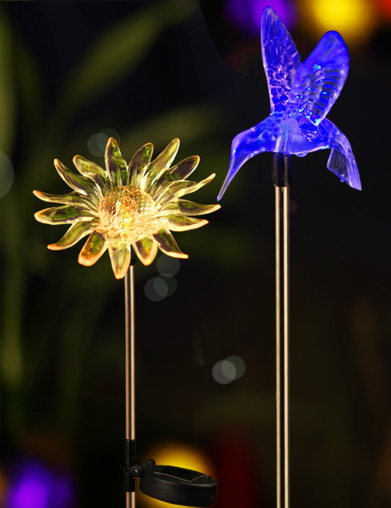 Bright ZEAL [Set of 2] LED Color Changing Solar Stake Lights Outdoor - Solar Light LED Garden Decor Statues (Sunflower, Hummingbird) - LED Outdoor Multicolor Changing LED Lights
