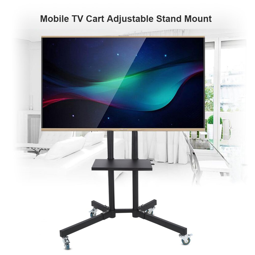 Model: PSTVMC1 Height Adjustable TV Stand Wheels by PERLESMITH Holds TV up to 132lbs Max VESA 600 x 400 Black TV Cart with Wheels for LCD LED Plasma Flat Panel Stand 32-65 Inch