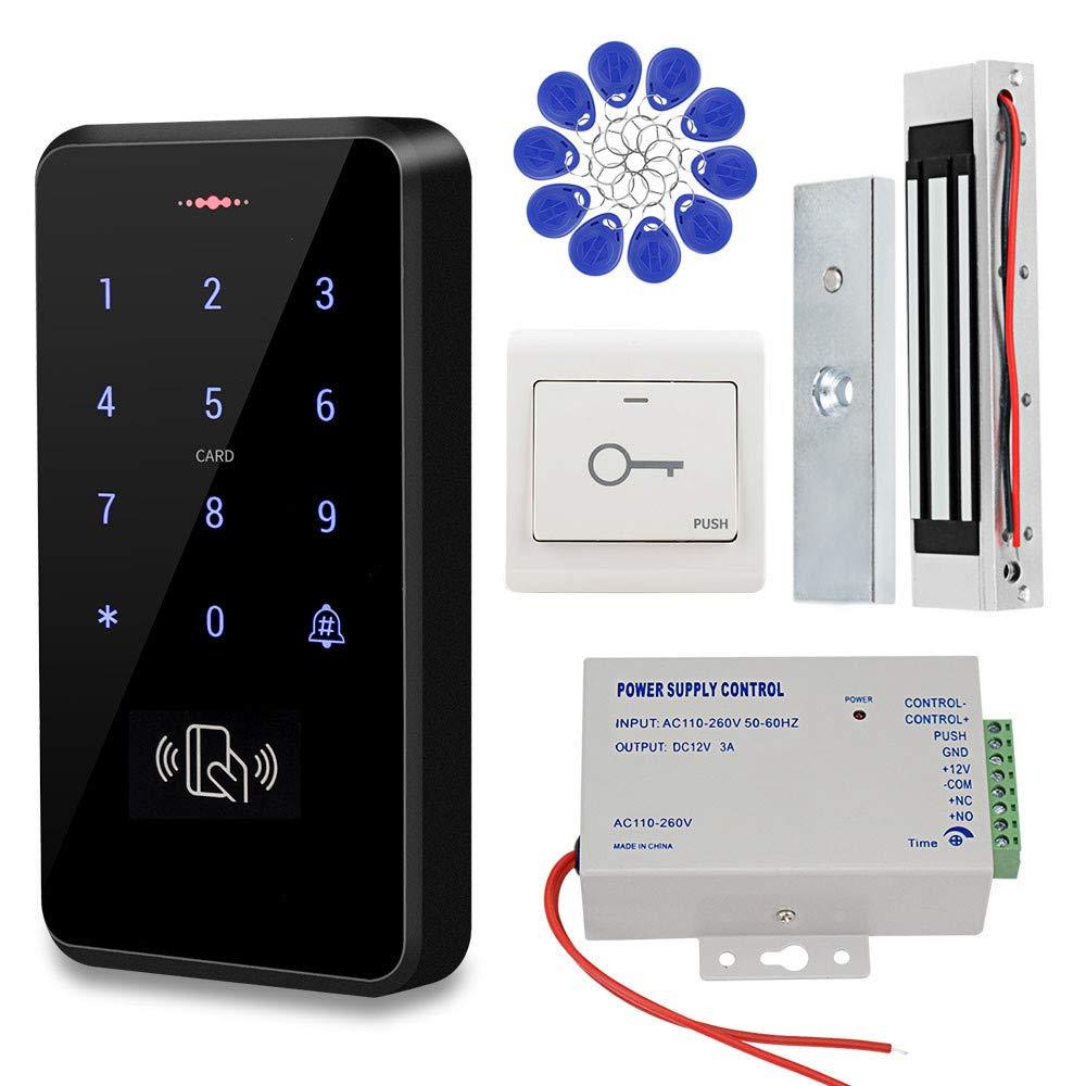 KDL IP68 a prueba de agua Sistema de control de acceso de puerta RFID Teclado de uso exterior, Fuente de alimentación DC12V Cerradura magnética de 180 ...