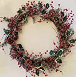 Holly Red Berry Pinecone Frosted Snow Christmas Winter Holiday Door Wreath Candle Ring (20'')