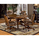 """Hillsdale Furniture 6060GTB Nassau 52"""" Round Game Table with Reversible Top Black Felt Gaming Surface and China Birch Construction in Rich Oak"""