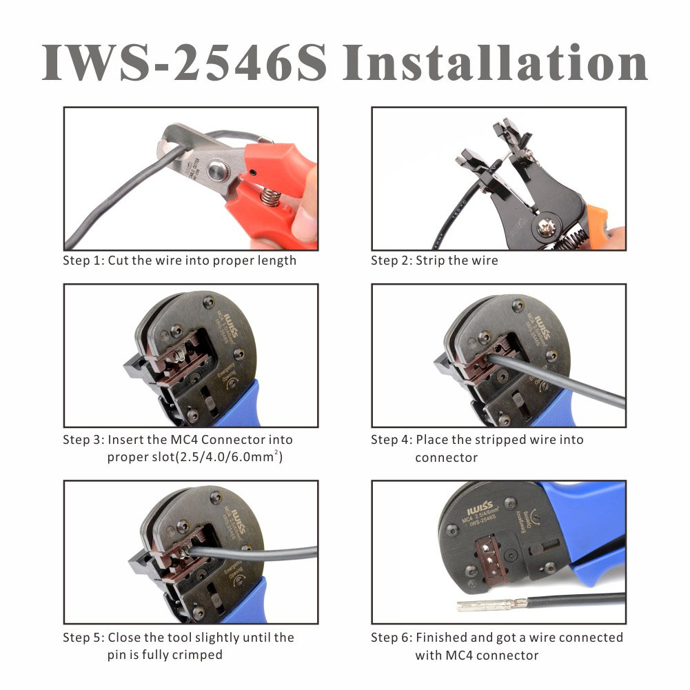 IWISS Solar Crimping Tool Kit with Wire Cable Cutter, Stripper, MC3 MC4 Crimper and MC4 Connectors Assembly and Disassembly Tool Solar PV Panel Tool Kit by IWISS (Image #3)