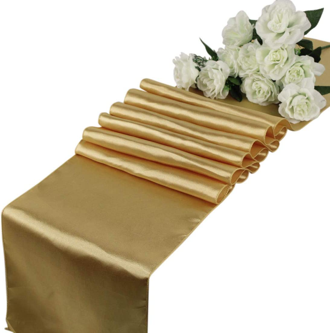 mds Pack of 10 Wedding 12 x 108 inch Satin Table Runner for Wedding Banquet Decoration- Gold: Home & Kitchen
