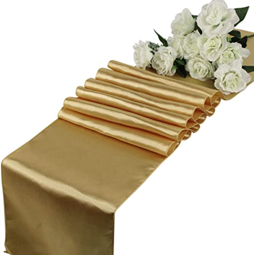 TRLYC Pack Of 10 Gold Satin Runner 12 by 108 Wedding Sequin Satin Table Runners for Party 12X108