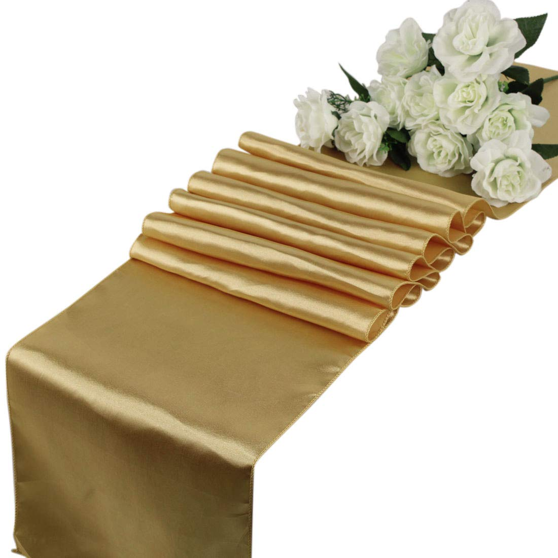 mds Pack of 10 Wedding 12 x 108 inch Satin Table Runner for Wedding Banquet Decoration- Gold by mds