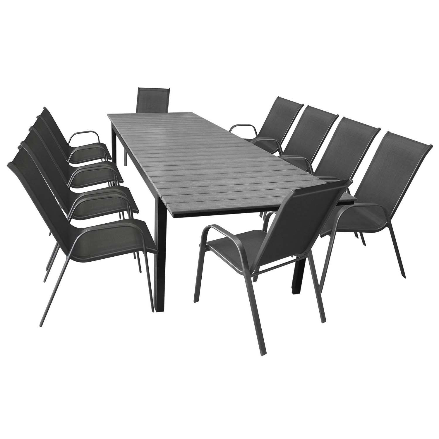 11tlg terrassenm bel set gartentisch ausziehbar aluminium polywood 280 220x95cm 10 stapelbare. Black Bedroom Furniture Sets. Home Design Ideas