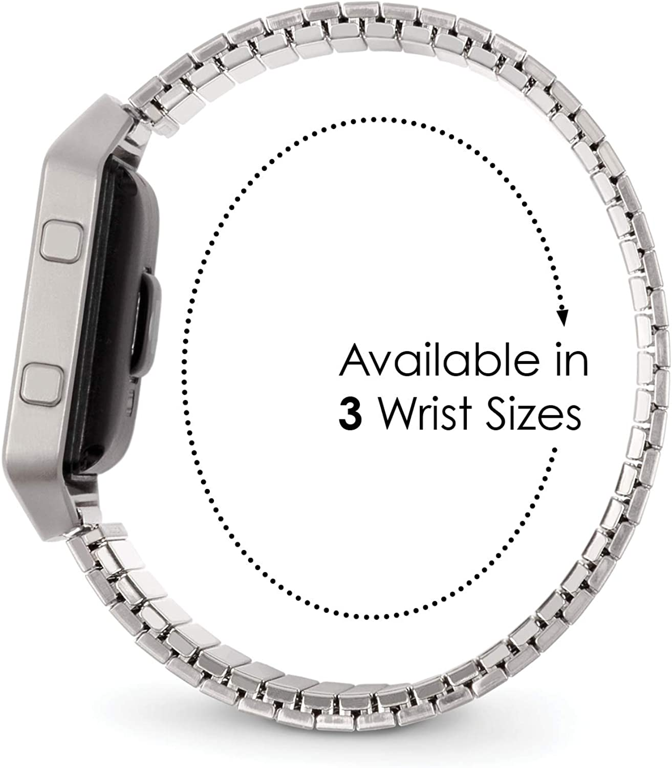 Twist-O-Flex Metal Expansion Stainless Steel Stretch Band Replacement for The Fitbit Blaze in Brushed Silver, Rose Gold and Black by Speidel Brushed