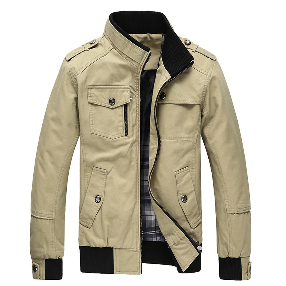 URBANFIND Men's Slim Fit Classic Fashion Navy Epaulet Casual Cotton Light Jacket Men Jacket 05059