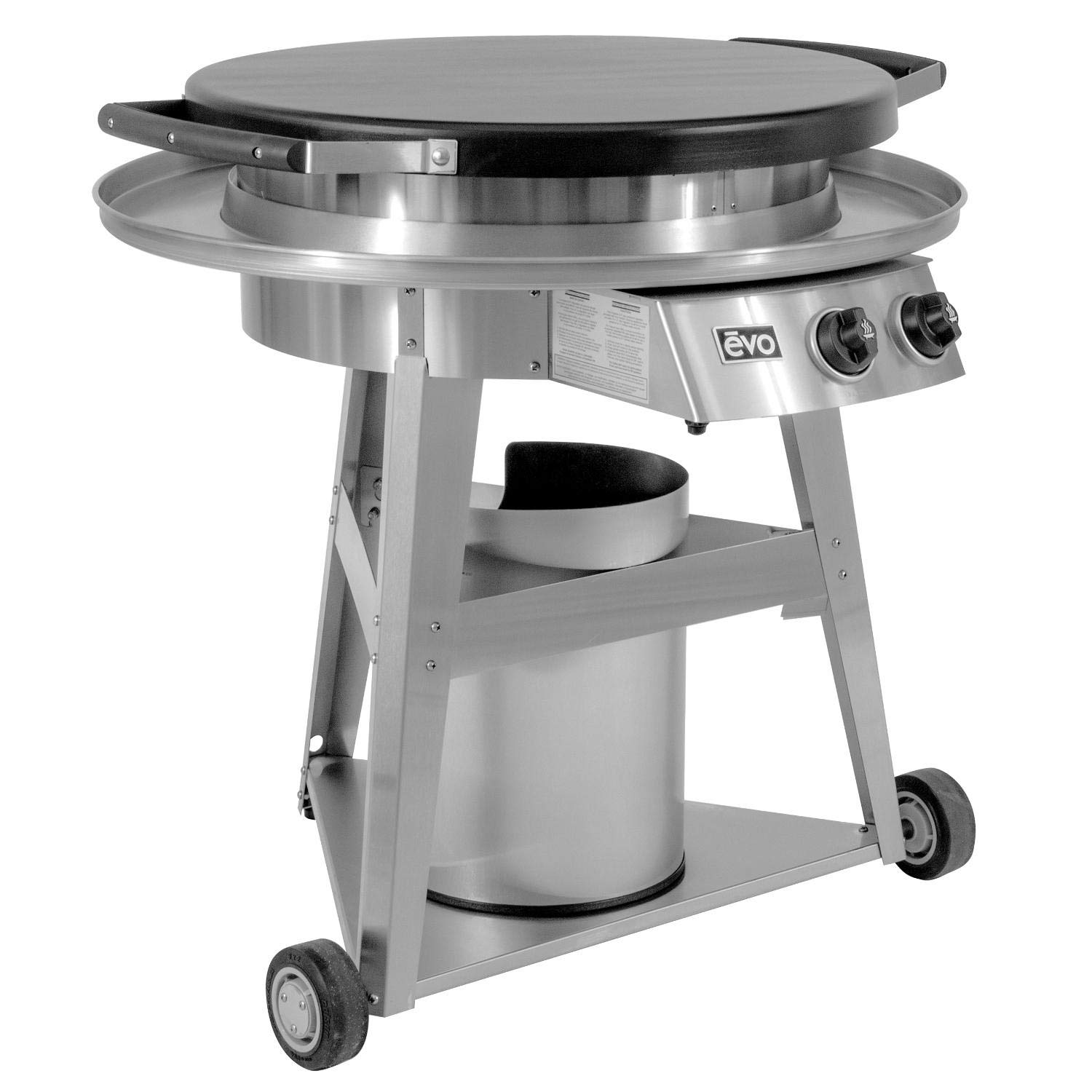 EVO Professional Series Gas Grill on Cart (10-0002-LP), Seasoned Steel Cooktop, Propane