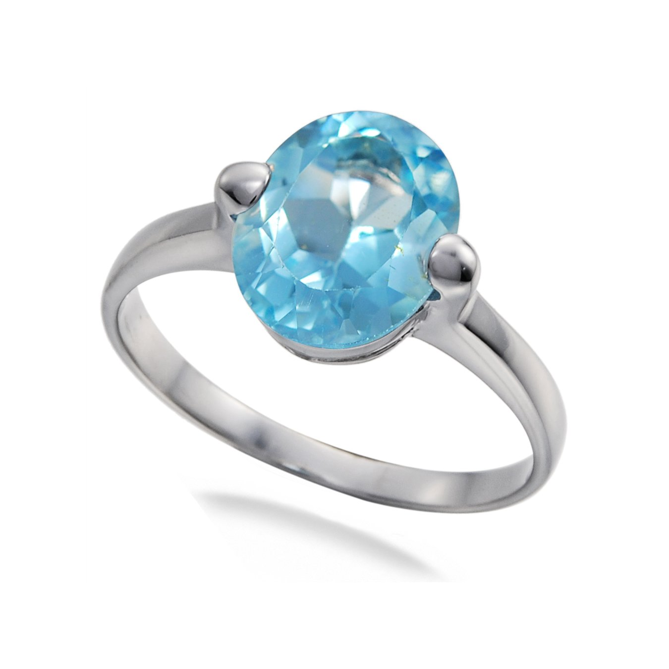 Sterling Silver Blue Topaz Ring 2 CT