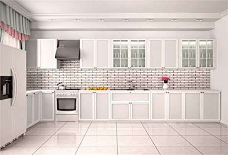 Amazon Com Lfeey 10x8ft 3d Empty Clean White Kitchen Backdrop For