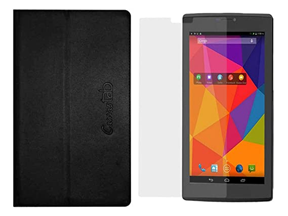 Colorcase Tab Flip Cover Case for Micromax Canvas P480 with 1 Screenguard Tablet Bags, Cases   Sleeves