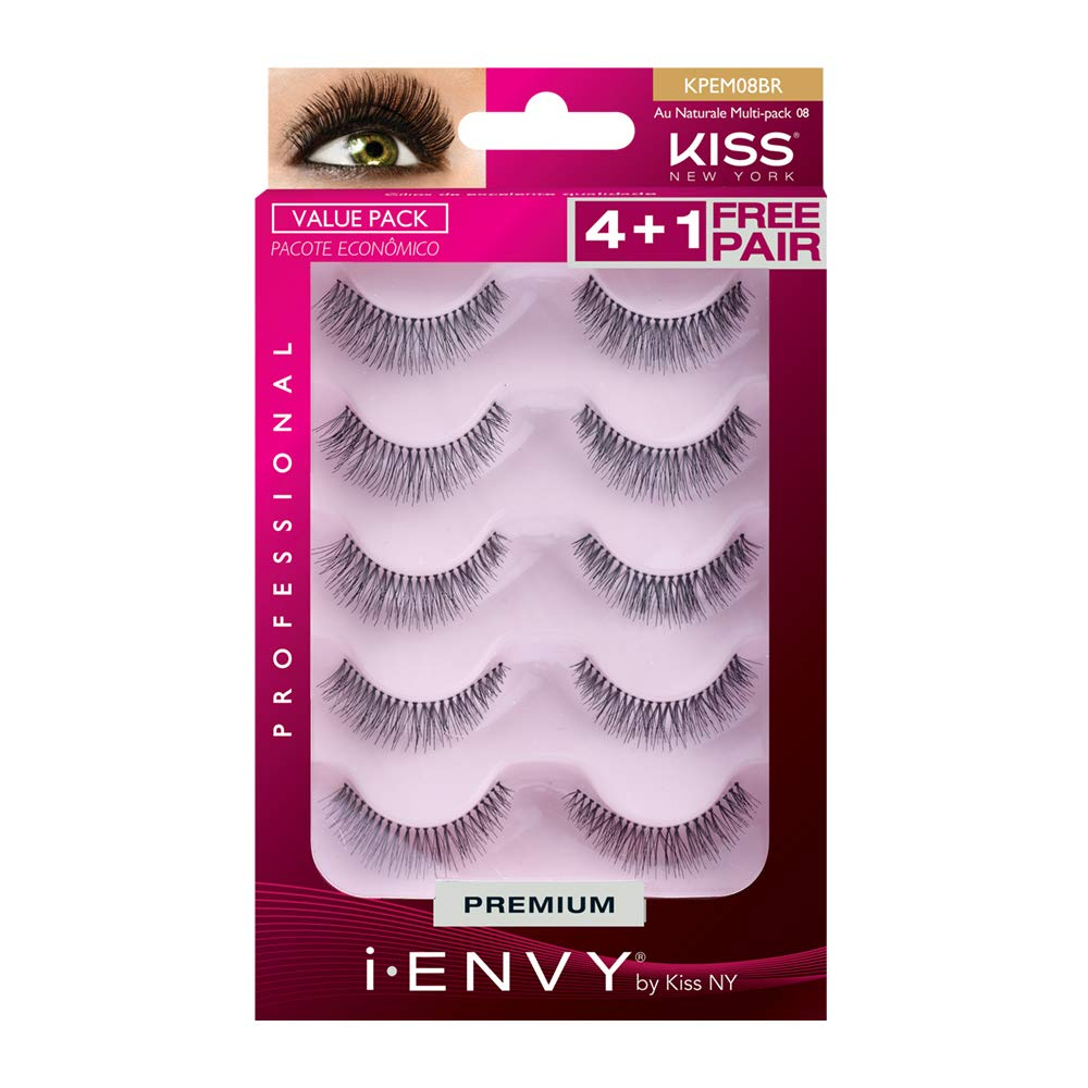 379591f6c57 Amazon.com : Kiss I-ENVY Au Naturale Multi-pack KPEM08 : Fake Eyelashes And  Adhesives : Beauty