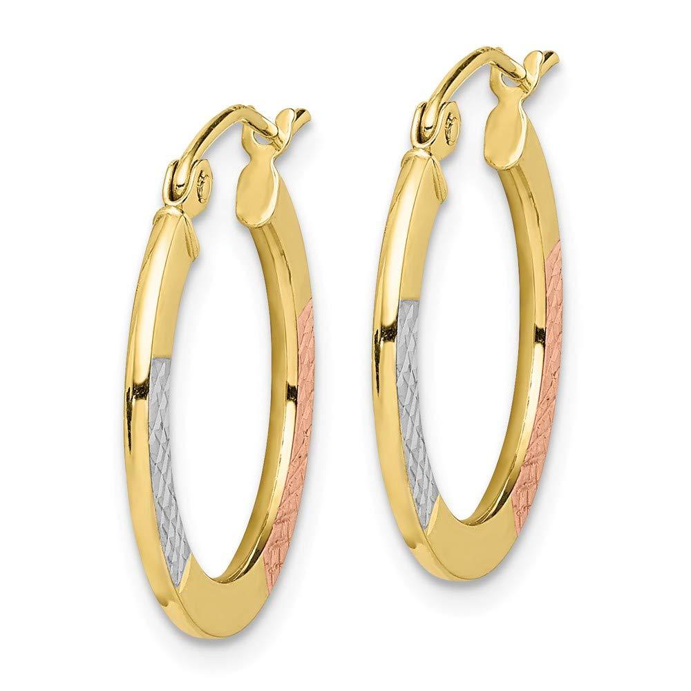 10k Gold Rhodium Plated Diamond Cut 2.5x20mm Hoop Earrings Gifts For Women 21x20mm