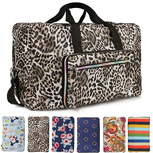 (Fordicher Women Nylon Foldable Large Travel Duffel Bag Travel Tote Luggage Bag with Detachable Shoulder Straps for Vacation (Leopard Print))