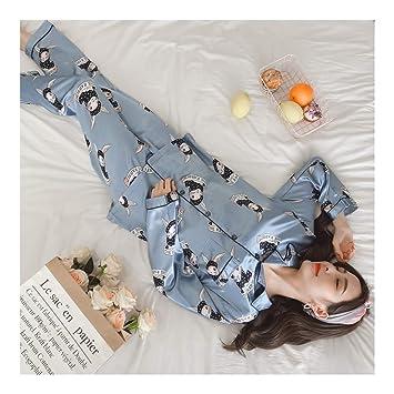 HAOLIEQUAN Impresión De Pijamas De Seda De Manga Larga De Otoño Conjunto De Dos Piezas Mujer De Dormir Pijamas De Dormir para Mujer De Dormir: Amazon.es: ...