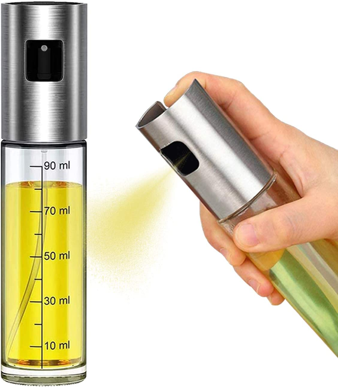 MISIMPO Olive Oil Sprayer for Cooking, Stainless Steel Mister Dispenser BBQ Refillable Oil Vinegar Spritzer with Oil Spray for Cooking Salad Grilling Roasting Air Fryer Kitchen