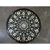 """13.5"""" Black Coffee Table Side Table End Table Patio Garden Table Sofa Table Round Shape Stones Inlaid Marble Table Top"""