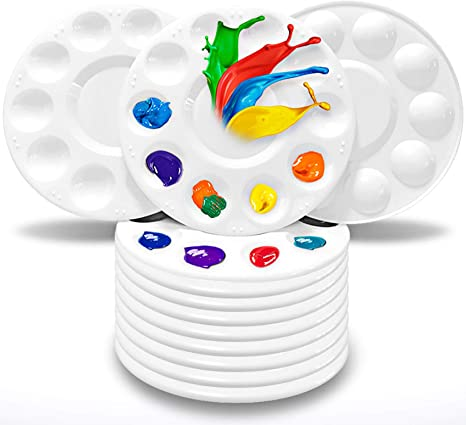 Flower Shape Paint Tray Palettes Plastic to Acrylic Oil Watercolor Craft DIY Art Painting Palettes for Kid,Adult,Student White 2PCS