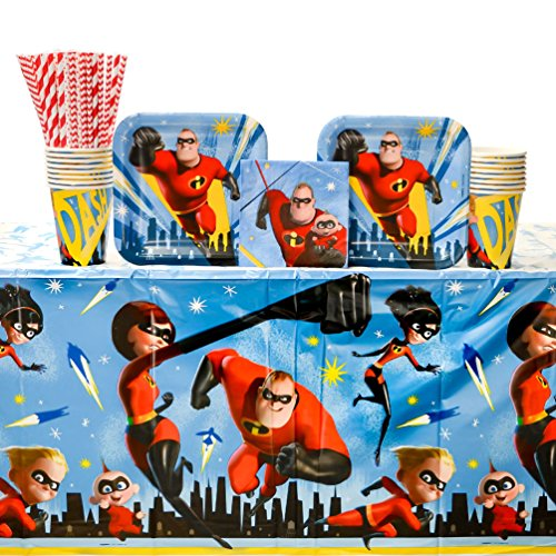 The Incredibles 2 Party Supplies Pack for 16 Guests - Straws, Dessert Plates, Beverage Napkins, Table Cover, and Cups by Amscan