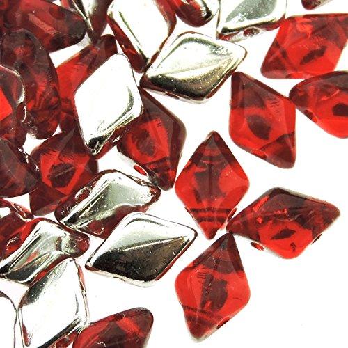 Czech Glass GemDuo Beads, 2-Hole Diamond Shaped Beads 5x8mm, 10 Grams, Backlit Ruby Red