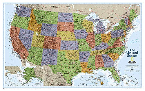 National Geographic: United States Explorer Wall Map - Laminated (32 x 20.25 inches) (National Geographic Reference Map) (Large Map Road States United)