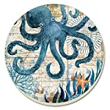 CounterArt Monterey Bay Octopus Absorbent Coasters, Multicolor, Set of 4