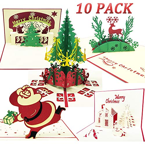 Tuzico 10 Pack 3D Christmas Cards Pop Up Greeting Cards Unique Funny Holiday Greeting Pop Up Card for Xmas Envelopes and Sealing Stickers Included