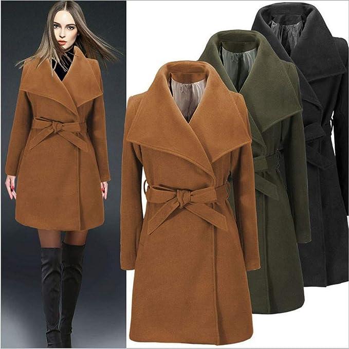 QIQIU Womens Wool Lapel Trench Fashion Solid Slim Fit Warm Long Coat with Belt Elegant Jacket Cardigan Overcoat
