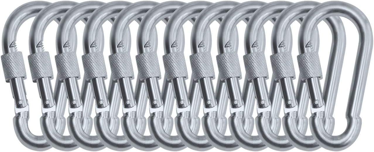 Branded Boards Heavy Duty Thumb Screw Locking Zinc-Galvanized Steel Carabiner Spring Snap Clip Link Hooks. 200-400lb Load. 6 Packs & 12 Packs
