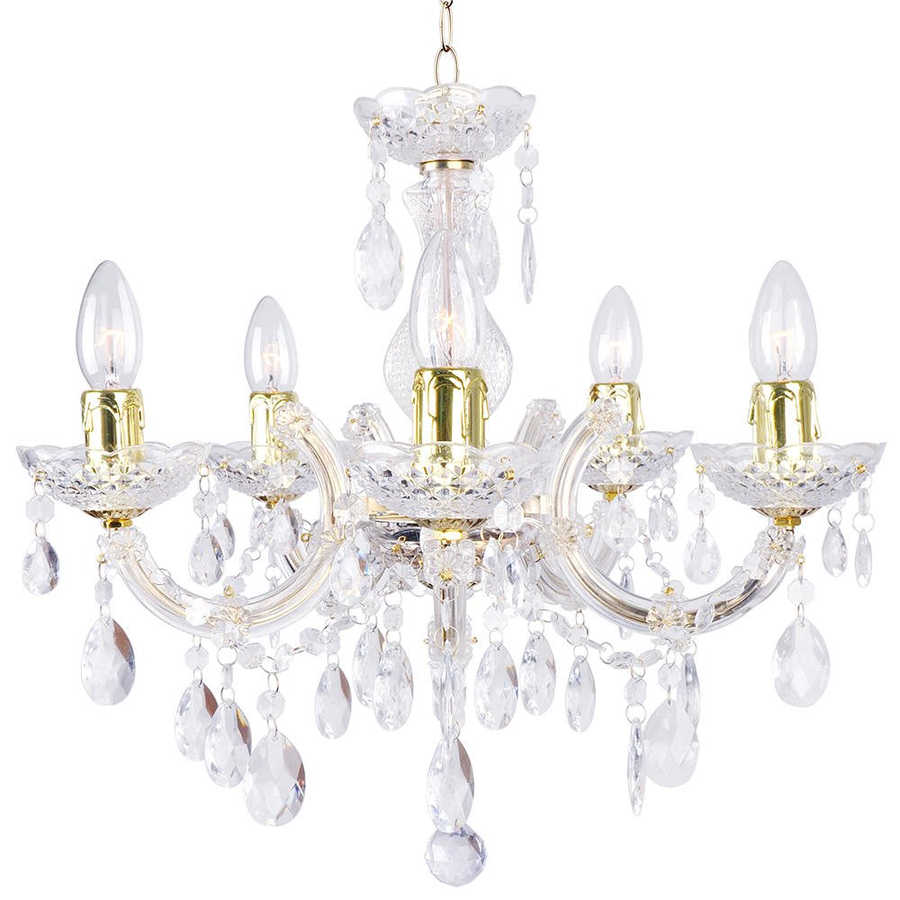 5 Light Dual Mount Chandelier Marie Therese Acrylic Bedroom Living Room Ceiling Light Litecraft (Gold) C01-LC2066