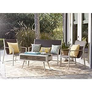 Cosco Monterey Valley All Weather Wicker 4 Piece Deep Seating Patio Conversation Set