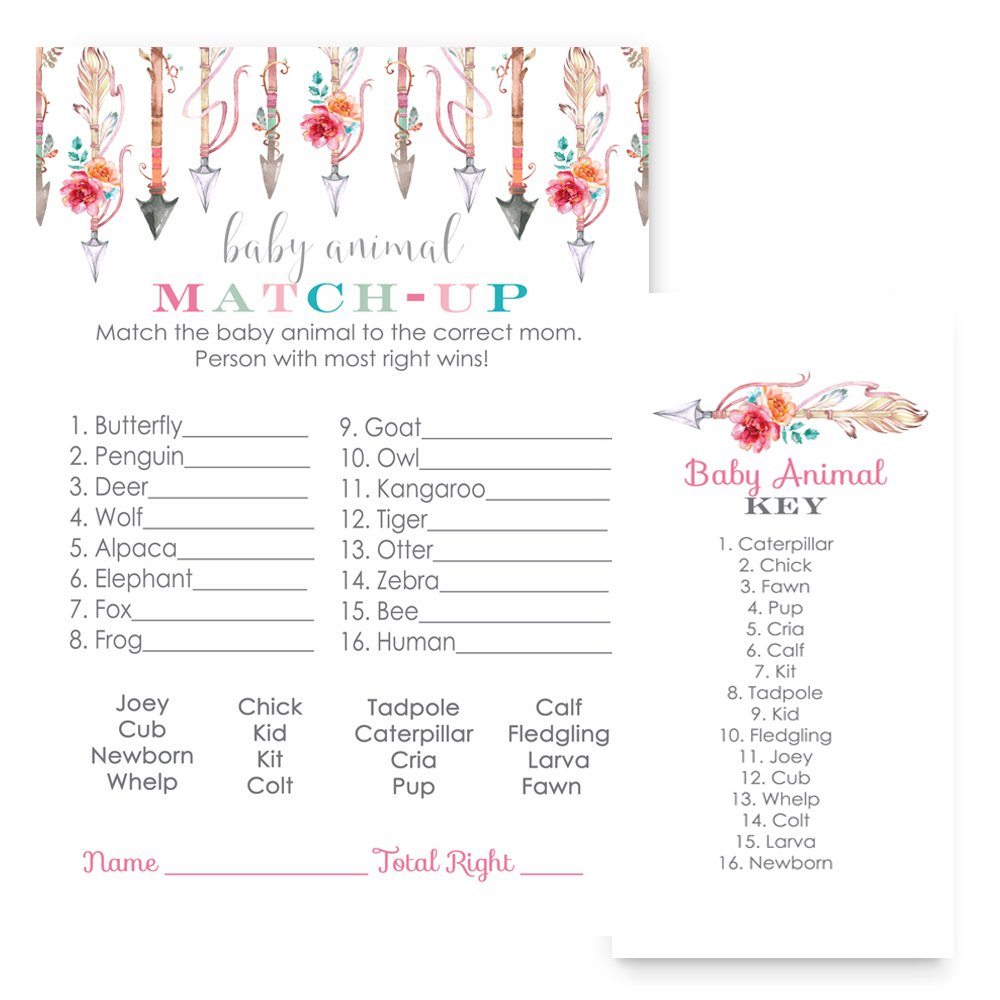 Girls Woodland Animal Match Baby Shower Game Cards (Set of 25) by Paper Clever Party