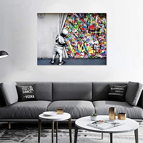 ZENDA Behind The Curtain Wall Art Wynwood Walls Banksy Graffiti Canvas Picture Art Painting
