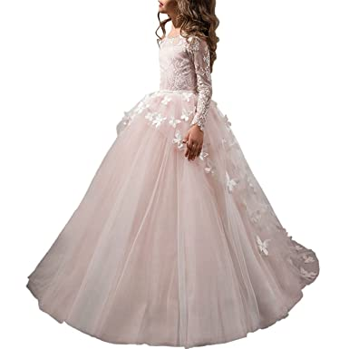 YUANLUC First Communion Dress Long Sleeves Pink Prom Gown Butterfly 2-12 Years Old (