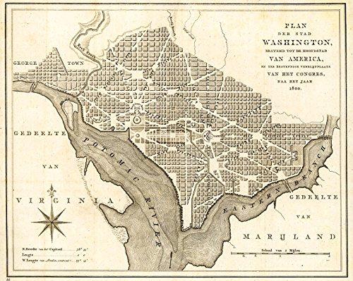 Historic 1793 Map | Plan der stad Washington : bestemd tot de hoofdstad van America, en ter bestendige verblijfplaats van het Congres, naa het jaar 1800. 30in x 24in