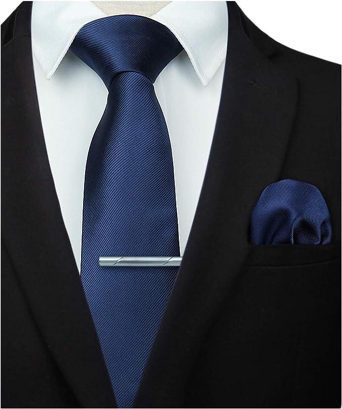 HISDERN Corbata de color solido y corbata cuadrada de bolsillo, conjunto clasico de clip de corbata para hombres-m¨²ltiples colores