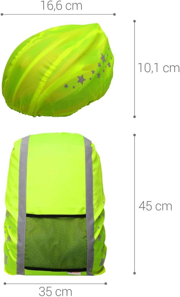 2X Funda Reflectante para Casco y Mochila kwmobile Set Impermeable para Casco y Mochila Cubierta Protectora con dise/ño de Estrellas