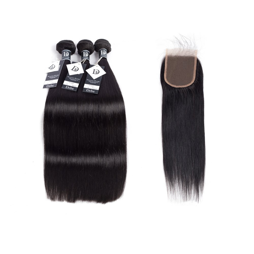 Debe Brazilian Straight Hair 3 Bundles with Lace Closure 8A Grade 100% Unprocessed Virgin Human Hair Weave with Baby Hair Free part Closure Natural Color (18 20 22+16 inches)
