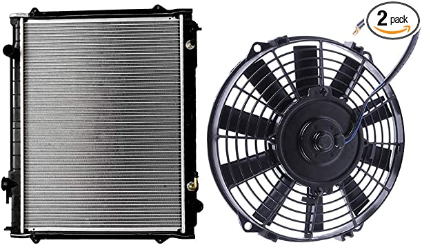 SCITOO Radiator Condenser Cooling Fan Assembly Compatible with 2006 2007 2008 2009 2010 Chrysler PT Cruiser