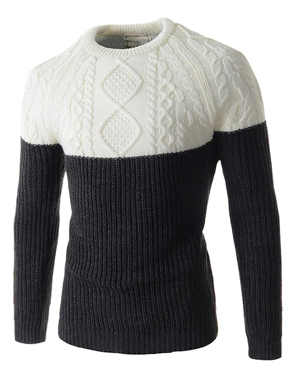 Molly Men's Casual British Style Cable Knit Sweater Pullover
