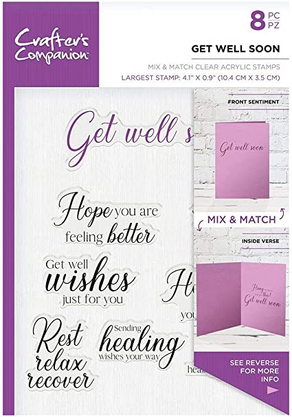 24 SENTIMENTS//GREETINGS CLEAR RUBBER STAMPS//STAMP-CARD MAKING-HAPPY DAY//GET WELL