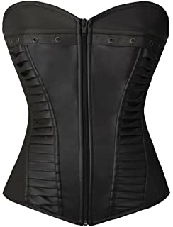 Lotsyle Fashion Faux Leather Corset Adult Exotic Tank Top For Women
