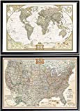 Poster Art House 2 Push Pin Maps by National Geographic, 1 World Map and 1 US Map Framed (Premium Black Wood)