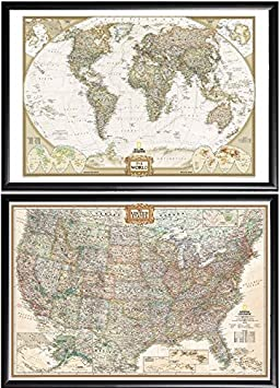 Poster Art House 2 Push Pin Maps by National Geographic, 1 World Map and 1 US Map Framed Premium Black Wood
